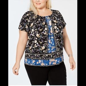 STYLE&CO PLUS SIZE PRINT PLEATED NECK TOP